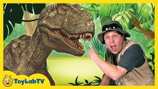 getlinkyoutube.com-Real Life T-REX Chase at GIANT LIFE SIZE DINOSAURS Park & Playground Animal Planet Dino Surprise Toy