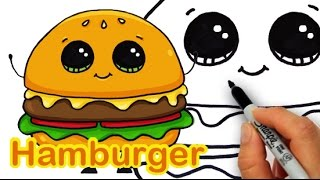 getlinkyoutube.com-How to Draw a Cartoon Hamburger Cheeseburger Cute and Easy