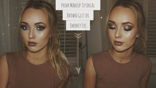 Prom Makeup Tutorial On My Friend | Brown Glitter Smokey Eye