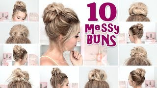 10 MESSY BUN hairstyles for New Year's eve, party, holidays ❤ Quick and easy hair tutorial width=