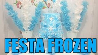 getlinkyoutube.com-Aula 36 - Como fazer uma mesa para festa Frozen usando papel de seda