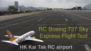 getlinkyoutube.com-dji Phantom 2 vision+ chasing RC Boeing 737 Sky Express Flight Test@HK Kai Tak Airport