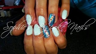 getlinkyoutube.com-Acrylic Nails l Baby Blue & White l Nail Design