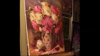 Пионы в вазе. Урок живописи. Part 1.