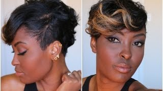 getlinkyoutube.com-Get Ready With me: Adding color to my pixie cut =) Quick and Easy plus Makeup budget Friendly