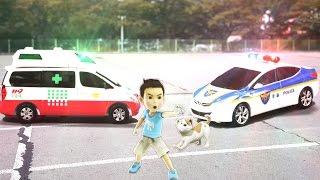 헬로카봇 댄디 구급차 VS 프론 경찰차 carbot 자동차 장난감 야외촬영 실사합성 변신 동영상(HelloCarbot   Transformation)[토이스페이스]