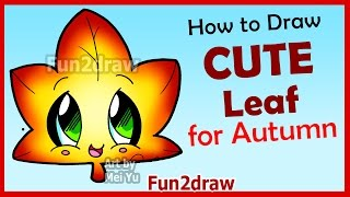 getlinkyoutube.com-How to Draw Cute Autumn Maple Leaf - Easy Step by Step Drawings for Beginners Fun2draw