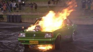 getlinkyoutube.com-Blown Rotary powered Gemini MUNTED flaming up at Burnout Mayhem 2013
