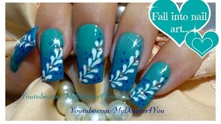 Ombre Nail Art For Beginners | Blue Gradient Nails | Floral Nail Design ♥