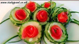 getlinkyoutube.com-Art In Cucumber Tomato Show - Vegetable Carving Rose Garnish