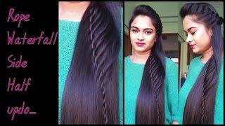 getlinkyoutube.com-Hairstyles for medium to long hair _Rope waterfall half updo / Indian party hairstyles