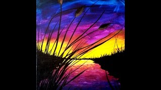getlinkyoutube.com-Sunset and Cattails Step by Step Painting on Canvas for Beginners