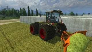 getlinkyoutube.com-Farming Simulator 2013 (Alternative tipping mod) Xerion 3800 Trac-vc compattamento insilato