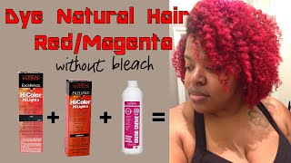 getlinkyoutube.com-Dye Natural Hair Red or Magenta without Bleach using L'Oreal HiColor Hilights in Red & Magenta