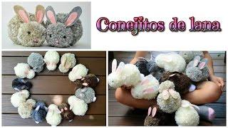 getlinkyoutube.com-Manualidades fáciles conejitos de pompones de lana - Isa ❤️