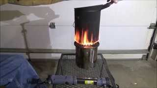 getlinkyoutube.com-3/3 $25.00 Diy How To Stainless Steel Wood Gasifier Stove Cheap Easy Portable WOOD TEST BURN