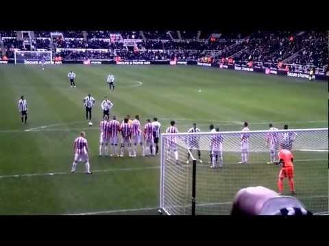 AMAZING Yohan Cabaye Free Kick vs Stoke - Steven Taylor making a nuisance of himself.