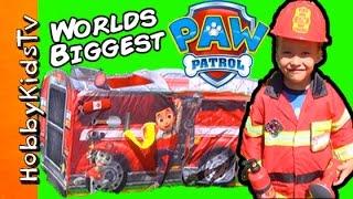 getlinkyoutube.com-Paw Patrol Mega FIRE TRUCK Eggs! HobbySpider + HobbyTiger Surprise Toys HobbyKidsTV