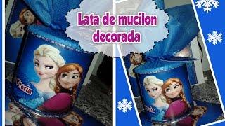 getlinkyoutube.com-DIY:Como decorar lata de mucilon para lembrancinha de festa de aniversário,Frozen