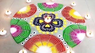 getlinkyoutube.com-Beautiful Easy Rangoli Design : Learn How to Make Diwali Special Rangoli for Home Decoration