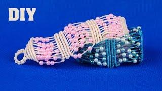 getlinkyoutube.com-Beaded Macrame Bracelet - Easy Tutorial by Macrame School