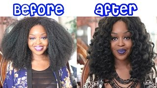 getlinkyoutube.com-How to Curl Crochet Braids | Marley Hair | Janet Collection Noir