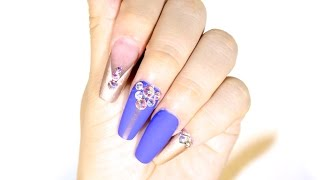 getlinkyoutube.com-TUTORIAL: Uñas Squaletto Azul y Oro ♥
