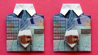 getlinkyoutube.com-Geldscheine falten: Hemd - zum Geldgeschenke basteln