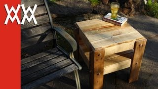 getlinkyoutube.com-DIY rustic side table made from free pallets.