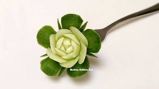 getlinkyoutube.com-Mini Rose Cucumber - Intermediate Lesson 16 By Mutita Art Of Fruit And Vegetable Carving Video Tutor