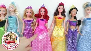 7 Disney Princess Doll Collections Set -  Frozen Elsa, Anna, Rapunzel, Cinderella, Ariel
