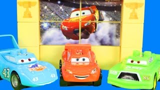 getlinkyoutube.com-Disney Cars Mega Bloks Chick Hicks Dreams Lightning McQueen Slimes And Plays Pranks On Him