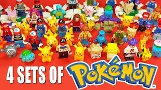 getlinkyoutube.com-4 Sets of Pokémon Unofficial LEGO KnockOff Minifigures w/ Pikachu & Ash Ketchum