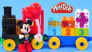 getlinkyoutube.com-Play Doh Birthday Cupcake Eggs Surprise for Mickey Mouse Clubhouse & Minnie Lego Toy Train Parade