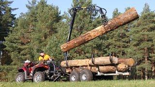 getlinkyoutube.com-Vahva Jussi 400/320 timber trailer and Polaris 850/550