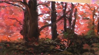getlinkyoutube.com-Red Forest   Landscape Painting