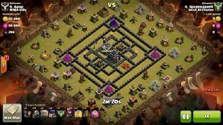 getlinkyoutube.com-Clash of Clans TH9 vs TH9 Golem, Wizard & Witch (GoWiWi) (No BK) Clan War 3 Star Attack
