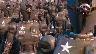 getlinkyoutube.com-Robot Army VS Super Mutants VS BoS Army - Fallout 4 NPC Battle