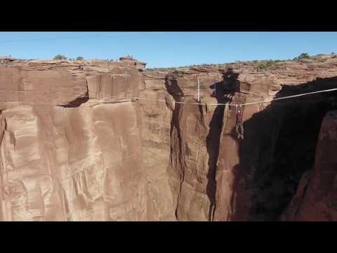 Highline-BASE Jump (raw drone footage)