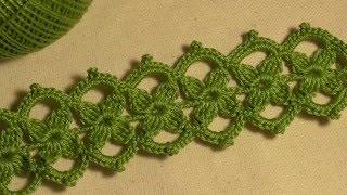 getlinkyoutube.com-Тесьма с маленькими цветочками вязанная крючком. Ирландское кружево. Видео-урок.