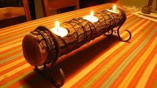 getlinkyoutube.com-Easy Log Candle Holder, A How To Video, A quick DIY project