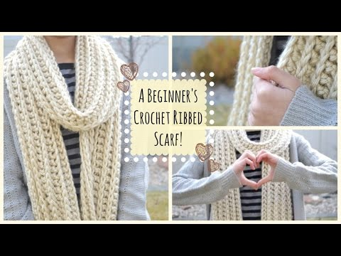 How to Crochet a Beginner's Ribbed Scarf!   Ms. Craft Nerd