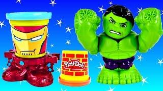 getlinkyoutube.com-NEW 2015 PLAY DOH HULK SMASHDOWN Can-Heads IRON MAN Marvel Superhero Playdough Toys by DCTC