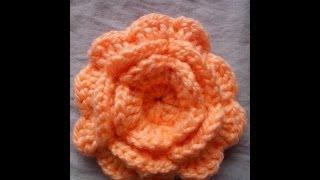 Como Tejer Flor en Crochet Con Tres Capas de Petalos