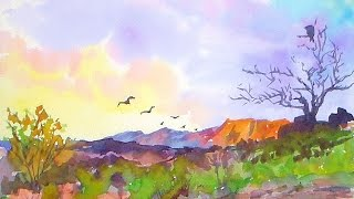 getlinkyoutube.com-Southwestern Landscape EASY Watercolor Painting Tutorial