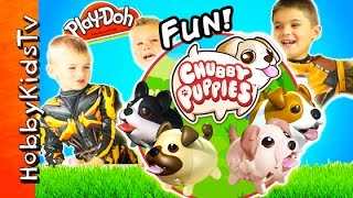 getlinkyoutube.com-Chubby Puppies! Play-Doh Surprise Bone + Race, Spider Slime - Cute Toy Review HobbyKidsTV