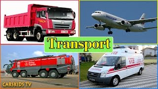 getlinkyoutube.com-Transport Sounds - learn AIR WATER STREET SPACE Transport - Fire truck Police Car Ambulance