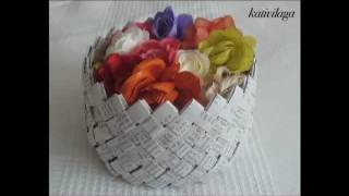 getlinkyoutube.com-Paper Basket   Panier en papier
