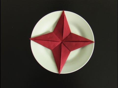 pliage serviette papier étoile