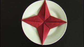 getlinkyoutube.com-noel pliage serviette papier étoile! christmas fold napkin! DIY TUTO
